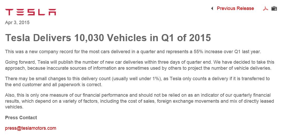 Tesla Press Release