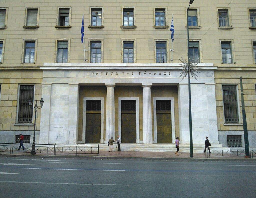 Griechenland Bank of Greece Haupteingang in Athen
