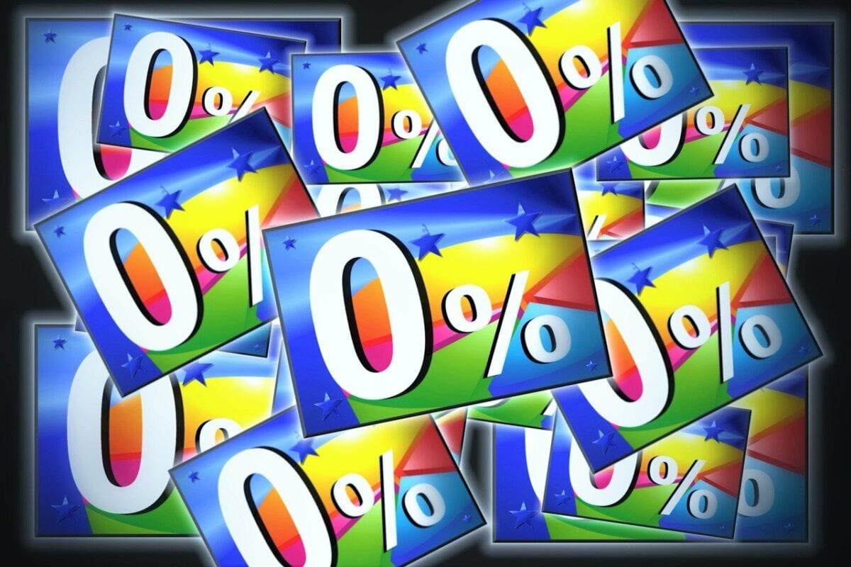 0 Prozent Zinsen Schilder