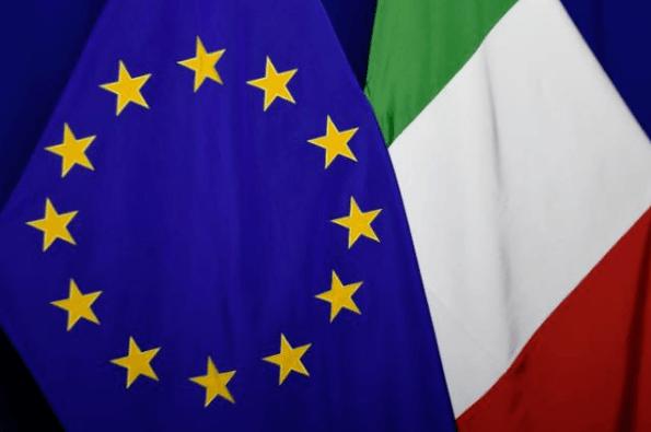 Defizitverfahren gegen Italien abgesagt - Flagge EU und Italien