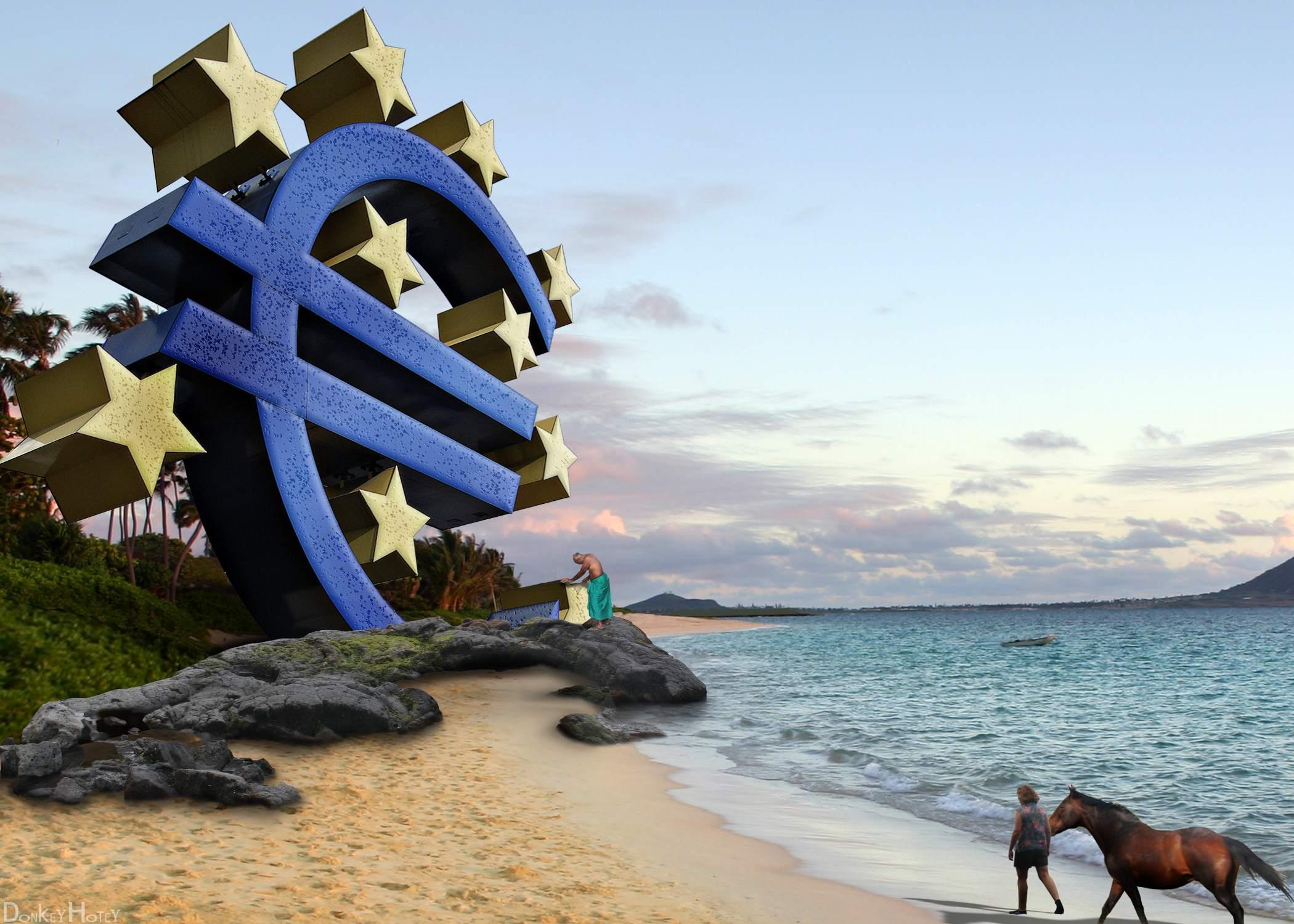 EZB-Politik vor erneuter Lockerung - kreative Grafik mit EZB-Logo