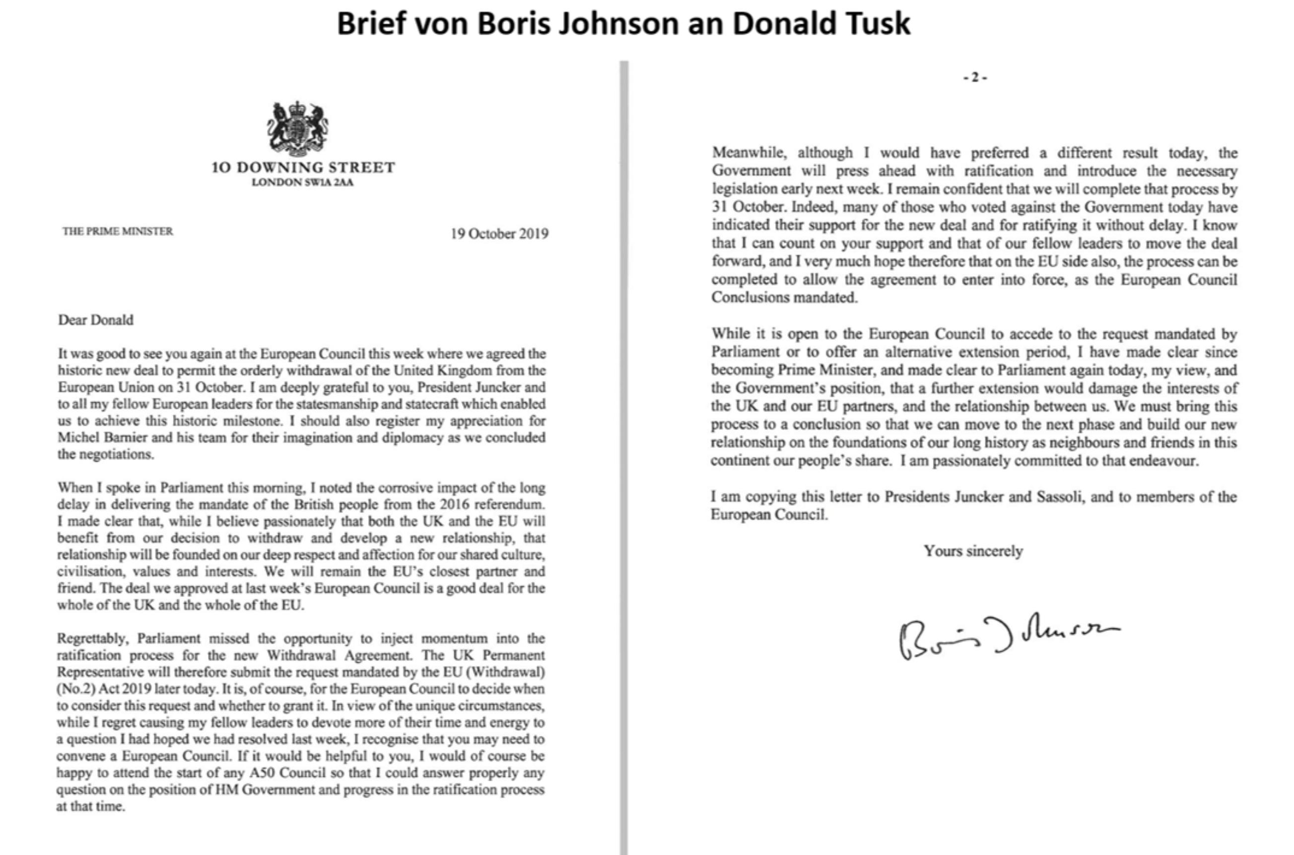 Aktueller Brief von Boris Johnson an Donald Tusk zum Brexit