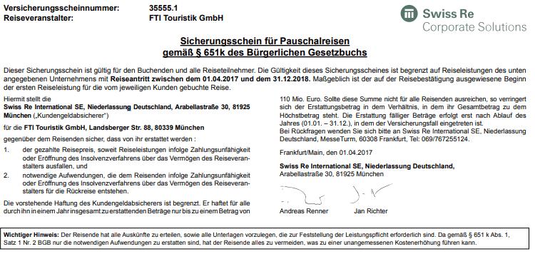Pleite von Thomas Cook - Versicherungsschein Swiss Re