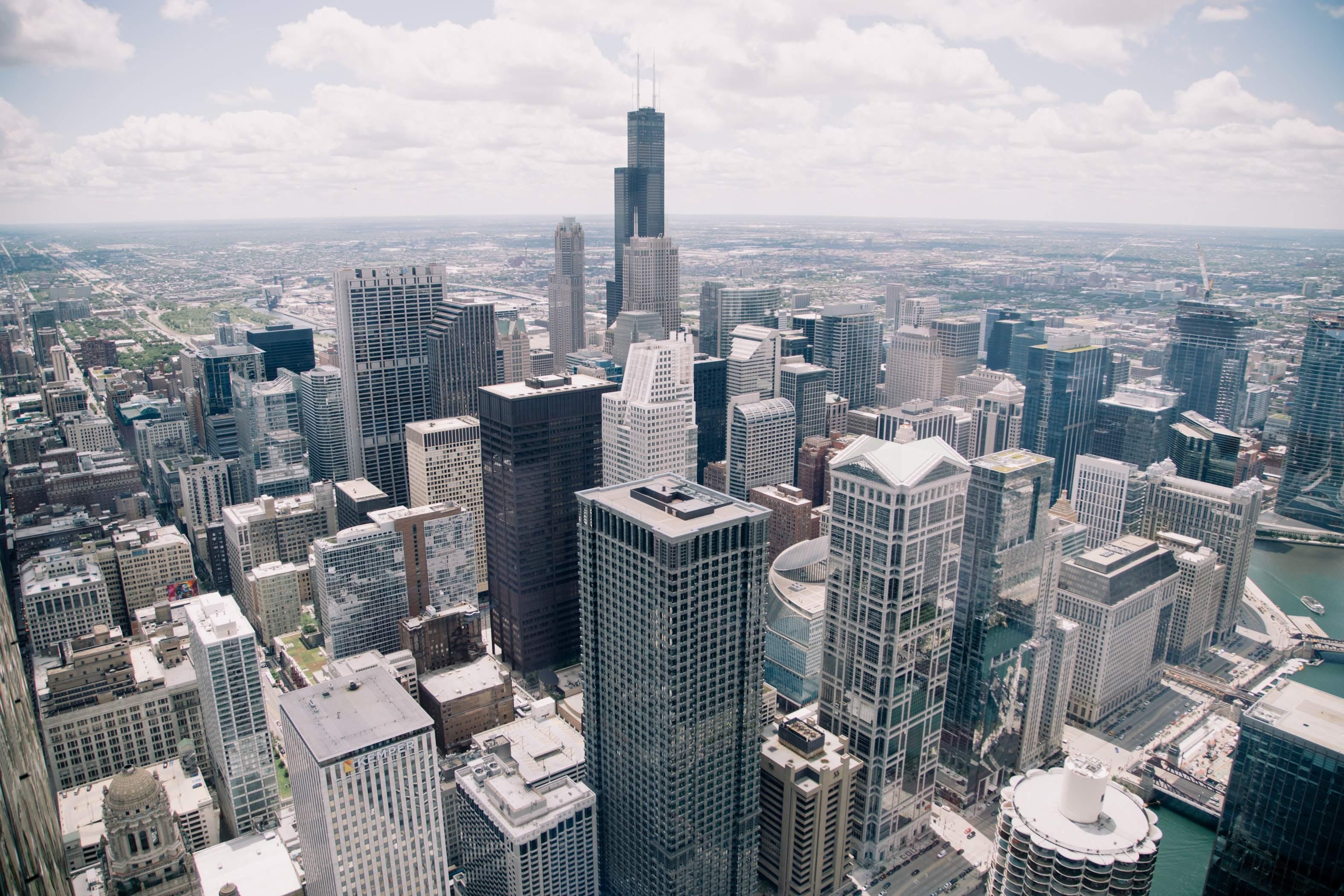 Chicago Skyline - Terminbörsen in City, Volatilität Index CBOE und CME