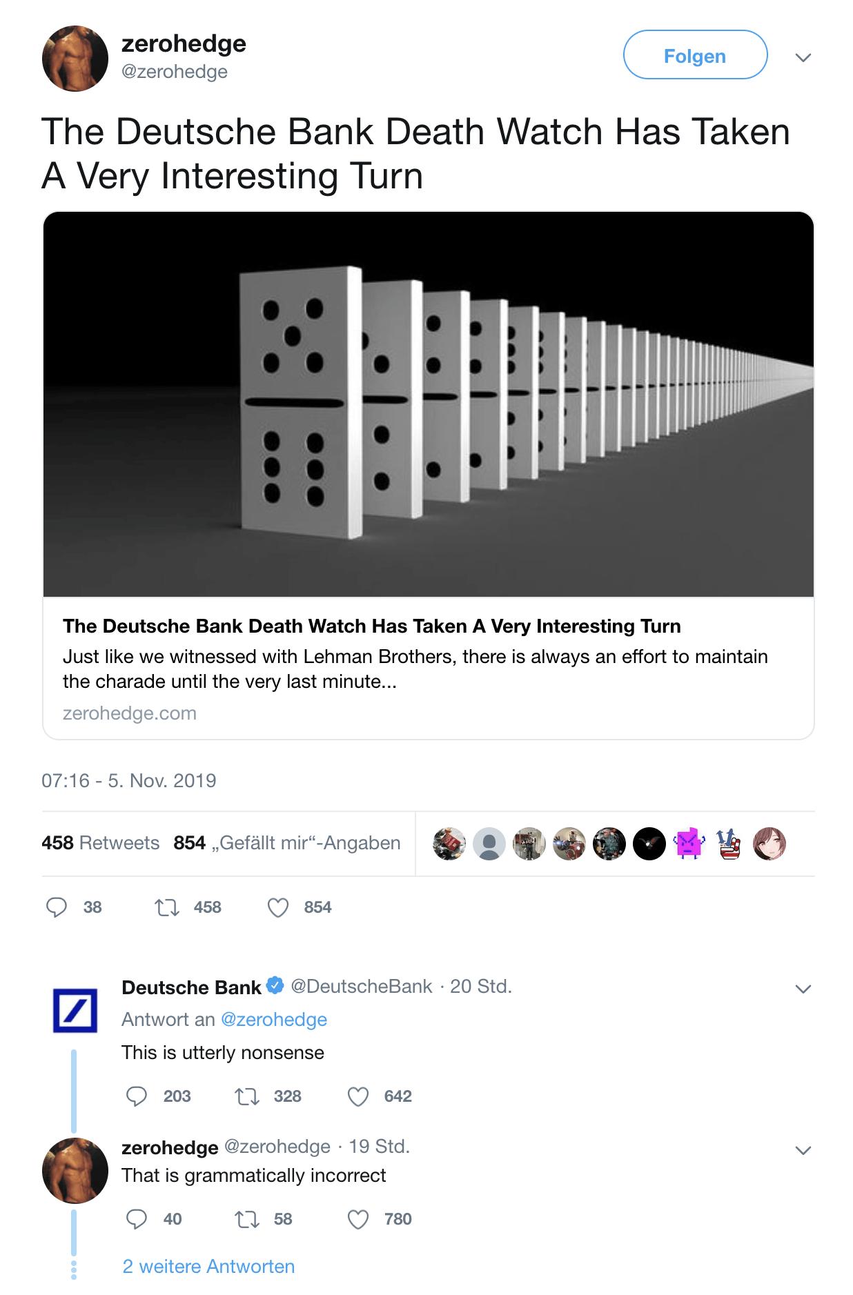 Zerohedge und Deutsche Bank tweeten