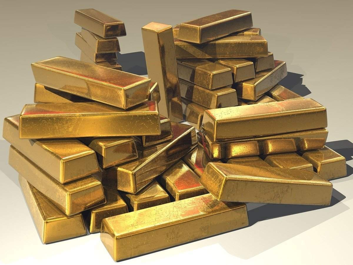 Ein Stapel Barren aus Gold