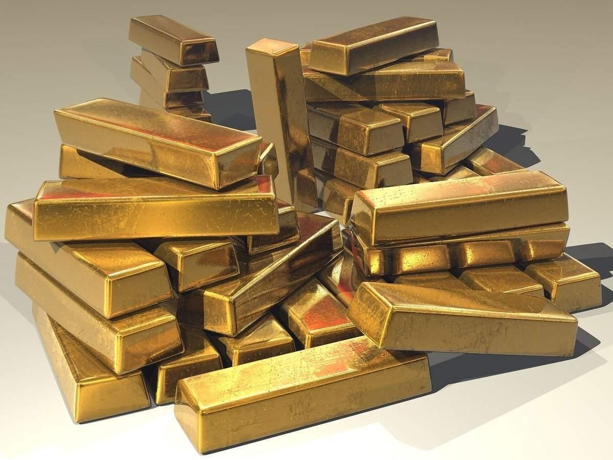 Ein Stapel Barren Gold