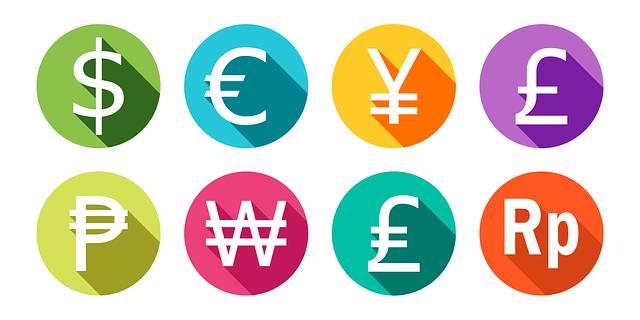 Symbolbild für US-Dollar, Euro, Yen, Pfund