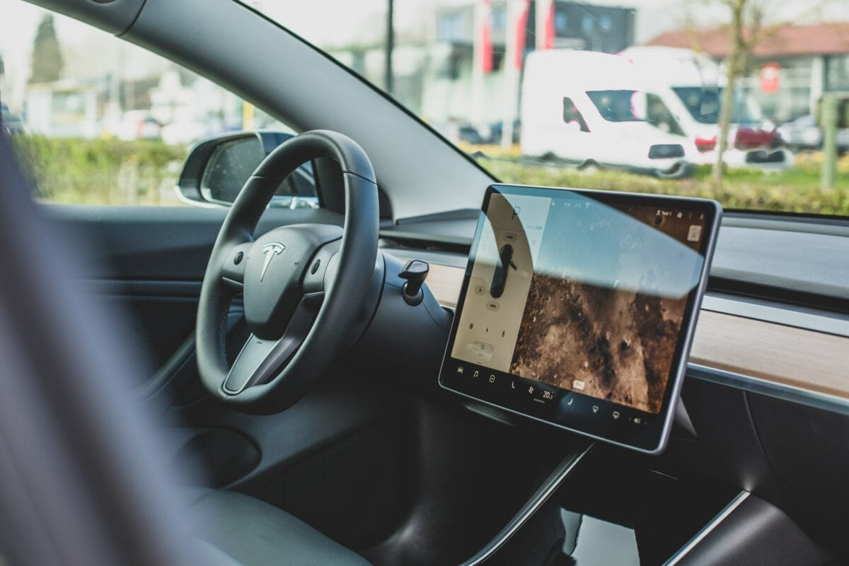 Tesla-Auto Innenansicht