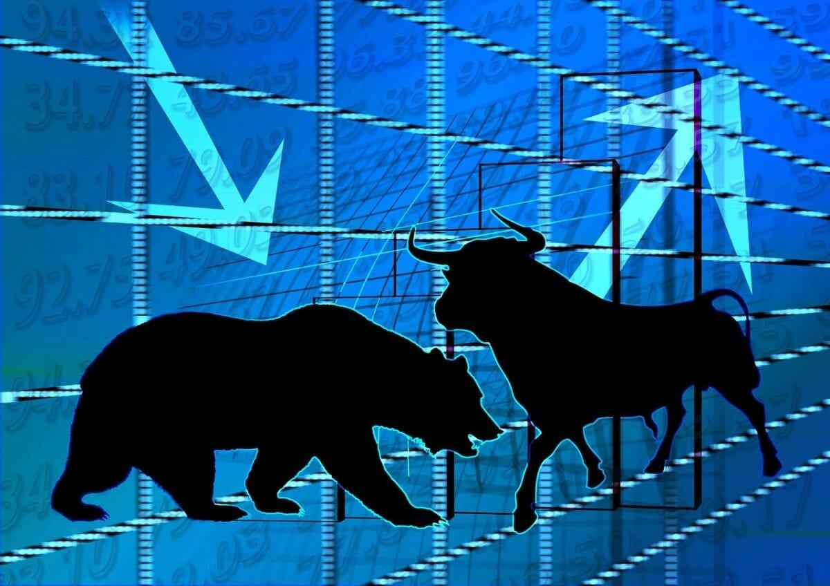 Bulle und Bär als Symbole für Aktiencrash und Aktienhausse
