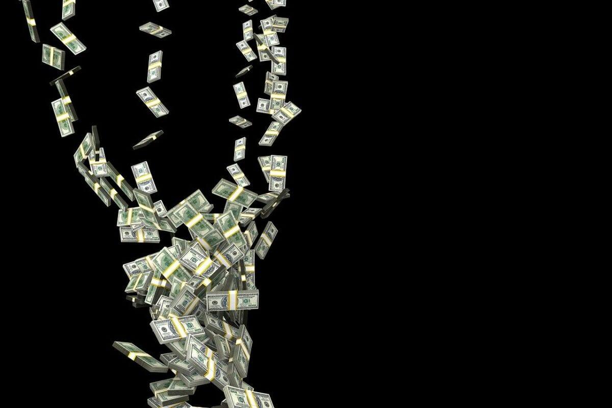 Fallende US-Dollar Geldscheine