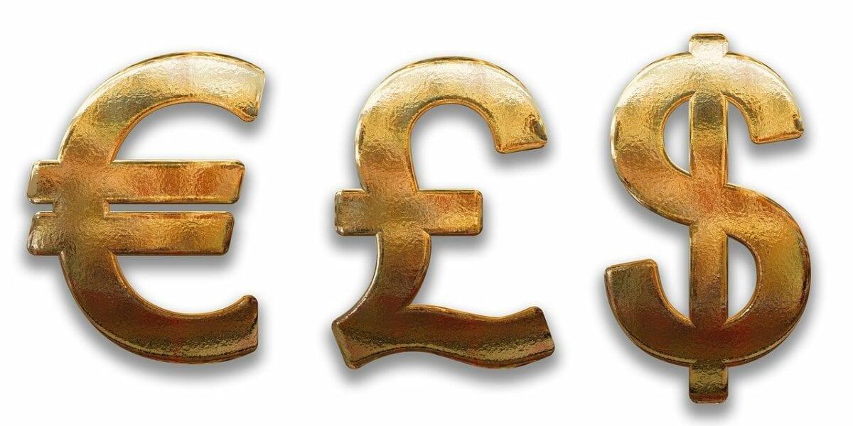 Die Symbole für Euro, Pfund und US-Dollar