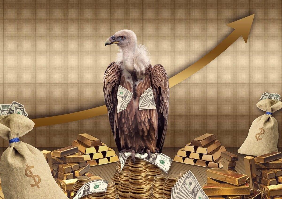 Adler mit Gold und US-Dollar