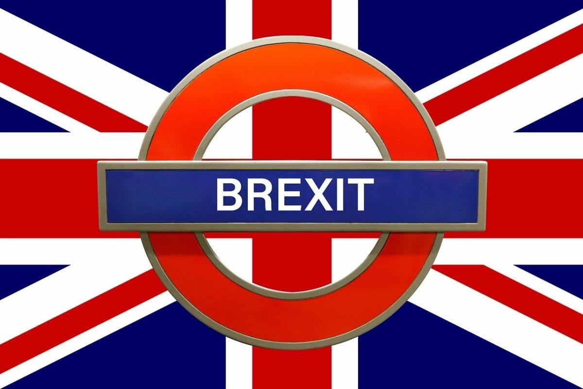 Das Brexit-Wort über dem Union Jack