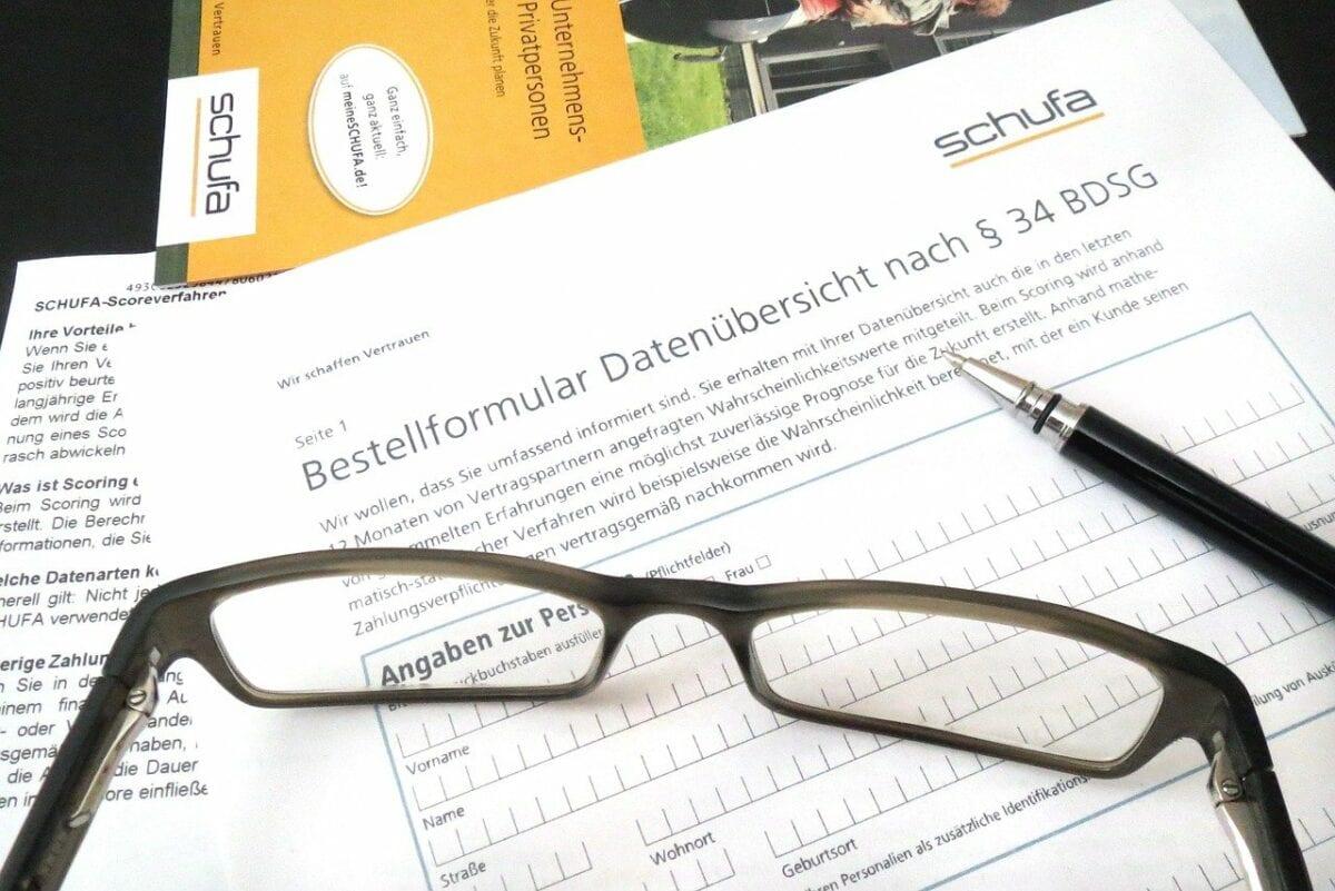 Bestellformular für eine Datenübersicht der Schufa