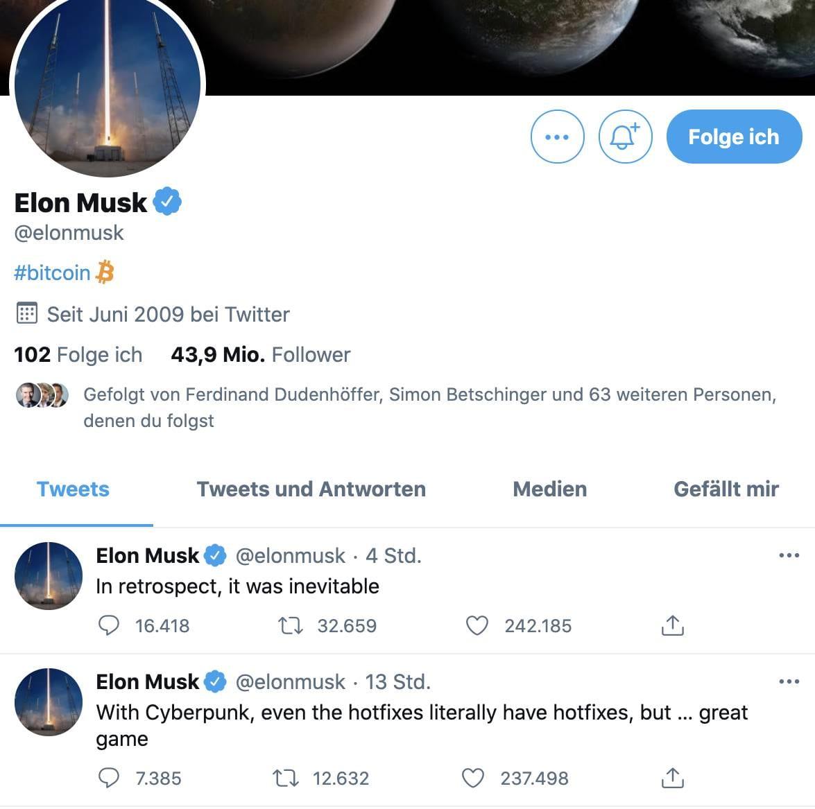 Twitter Account von Elon Musk