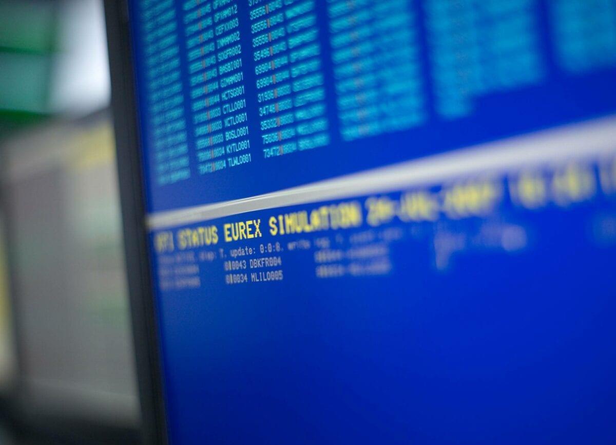 Eurex Screen der Deutschen Börse für den Handel im Dax-Future