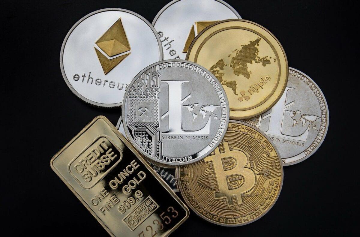 Symbolische Münzen wie Ethereum, Litecoin und Bitcoin