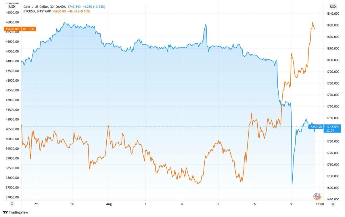 Chart vergleicht Verlauf von Bitcoin gegen Goldpreis seit dem 3. August