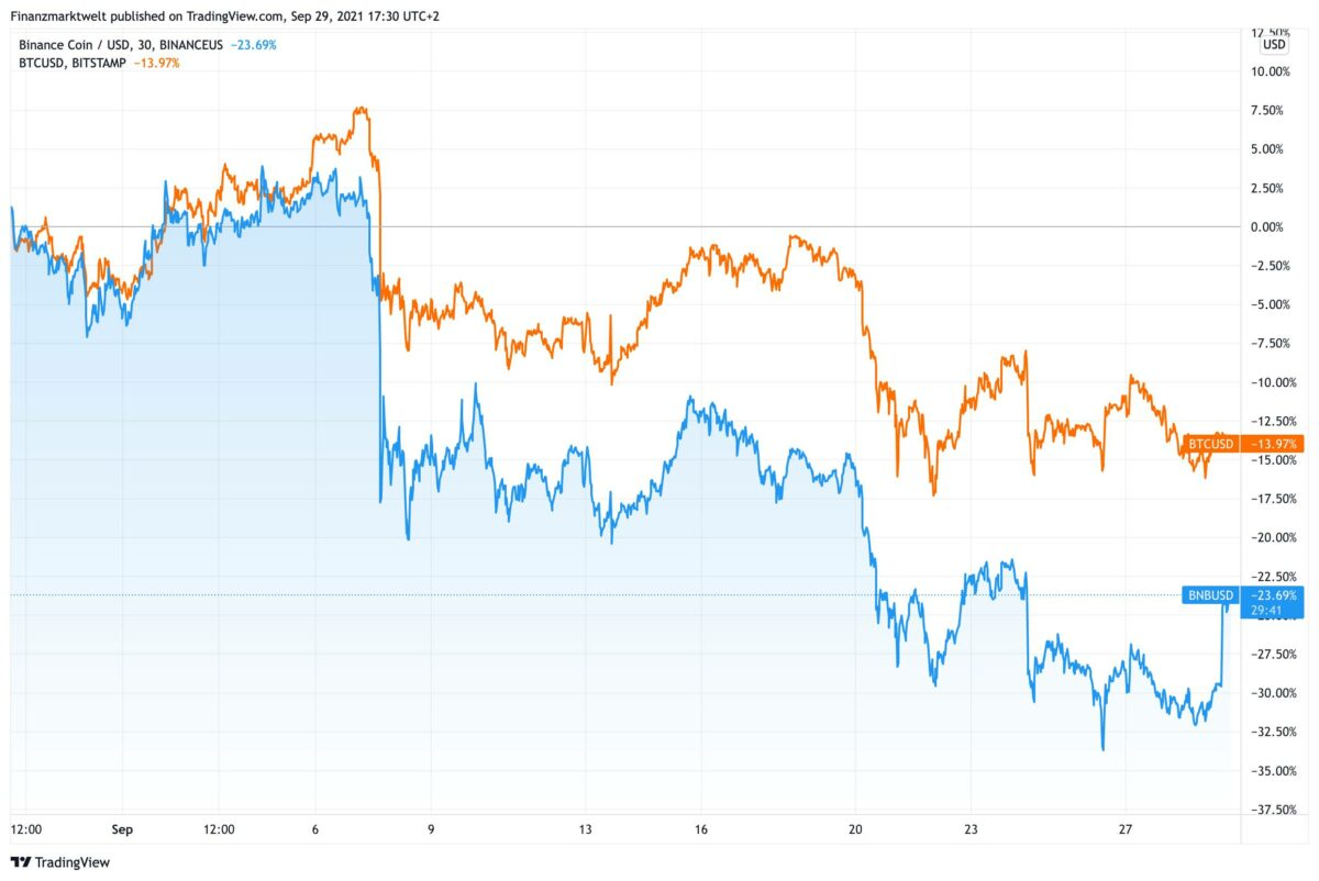 Chart vergleicht prozentuale Verluste bei Binance Coin und Bitcoin