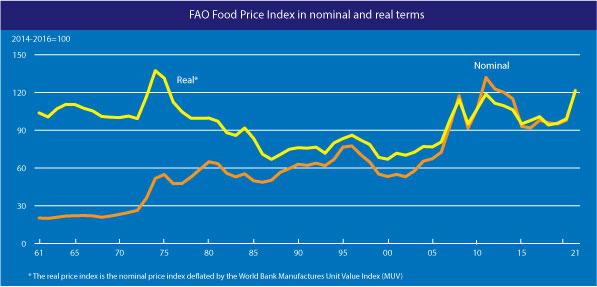 Grafik zeigt steigende Lebensmittelpreise im FAO Food Price Index