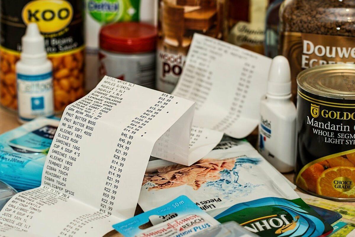 Kassenzettel und Produkte