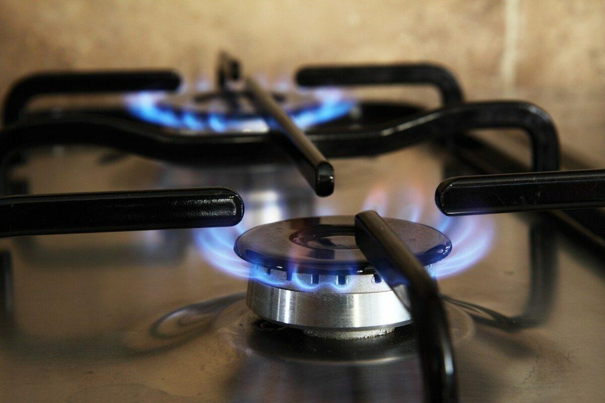 Gas-Flamme auf Herd
