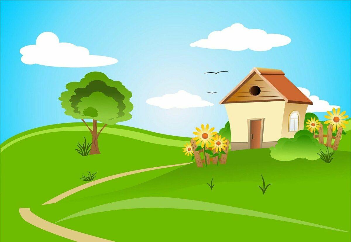 Baum mit Haus und grünem Rasen